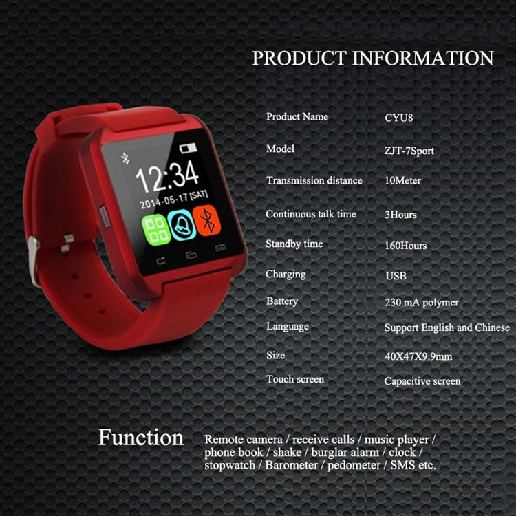 2016 New Smartwatch Bluetooth smartphone watch for iPhone & Samsung Android Phone relogio inteligente reloj U8 smart watch