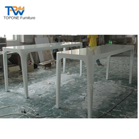 High End Restaurant Artificial Marble Gloss Dining Table and Chairs