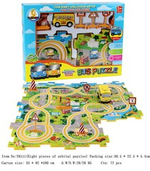 Hot sale B/O jigsaw puzzle orbit simulation buses 3D puzzle racing car