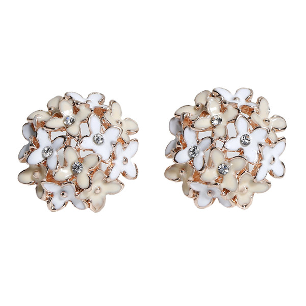 Earrings Ear Studs Light Golden Flower Clear Rhinestone White & Light Beige Enamel 23mm x 21mm