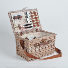 Exquisite big woven wicker gift picnic cooler basket supplies