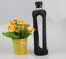 Custom 550ml Glass Sparkling Water Bottle with Silicone Sleeve