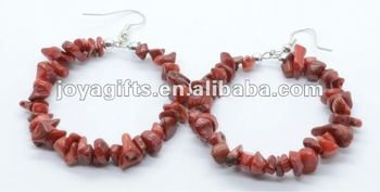 Round Shape Red Coral Chip Stone Earring
