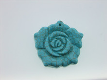 blue turquoise pendant wholesale natural turquoise rose flower jewelry