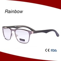 2015 Men's full rim metal alloy design brand name spectacle frames with acetate temples