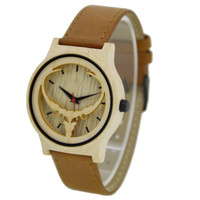 Wooden watch different wood case with leather strap men and lady size availab W119Ale
