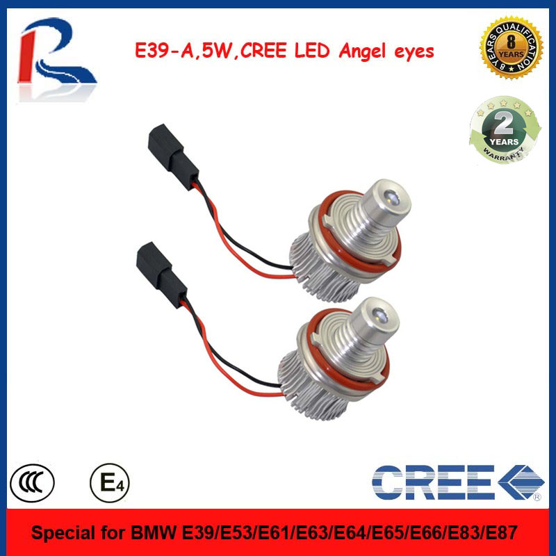 5W 2 years warranty CREE chip led angel eyes light with blue+golden+nickel+silver for choice for E39,E53,E61,E63 etc