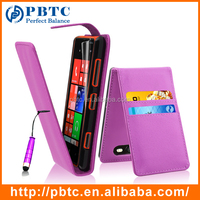 Set Screen Protector Stylus And Case For Nokia Lumia 820 , Light Purple Wallet Leather Cover For Nokia