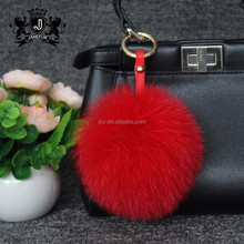 Colourful fox fur pom pon large puff ball keychain for purses