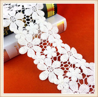 elegant design off white flower pattern african guipure lace embroidery lace for dress decoration