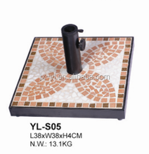Outdoor patio square mosaic tile sun umbrella base