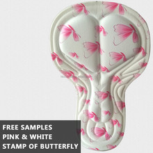 Printed Butterfly White Quick Dry Coolmax Cycling Pad With Gel For <strong>Sportswear</strong>