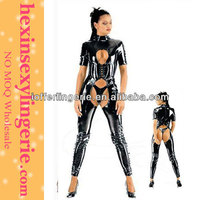 Atrracting New Woman Black Leather Corset Bodysuit