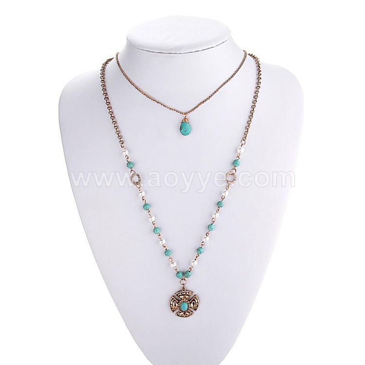 New product gold silver pearl multi long chain vintage religion metal pendant necklaces