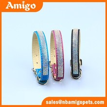 Amigo Pet shinny crystal leather pu dog collar