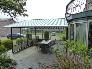 Electric roof conservatory awning