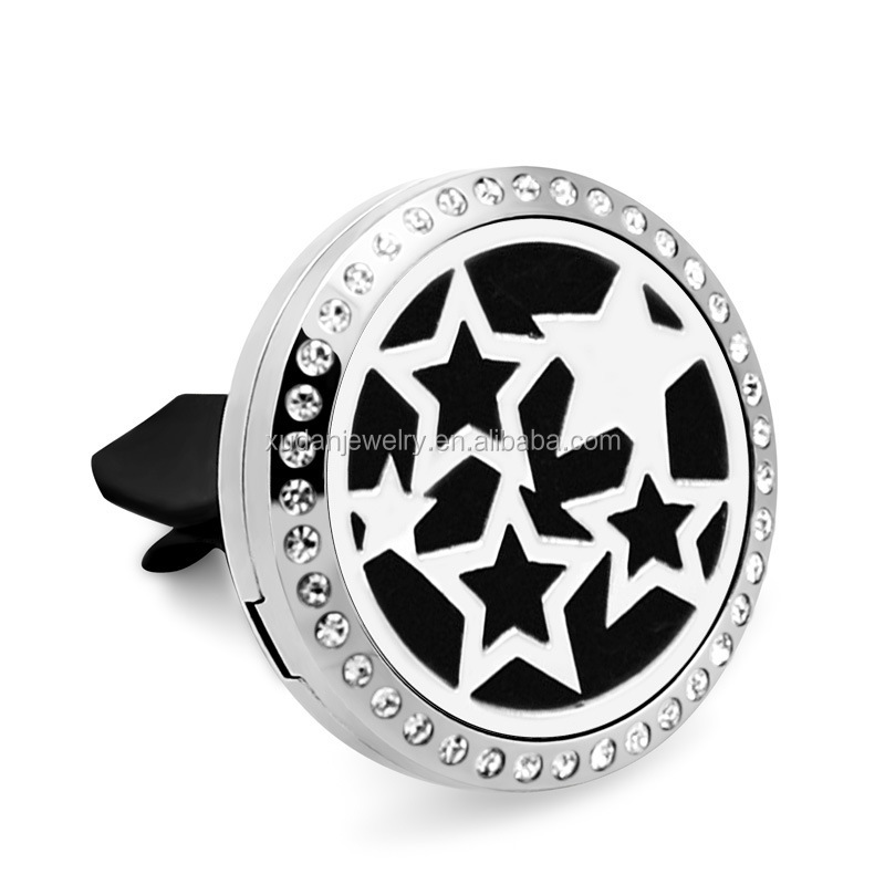 New Silver Star (38mm) Magnet Diffuser Stainless Steel Car Aroma Locket Crystals Essential Oil Car Diffuser Lockets Pendant
