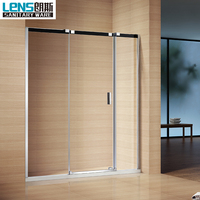 Latest sliding rail design bathroom shower screen frameless tempered glass bathroom shower screen