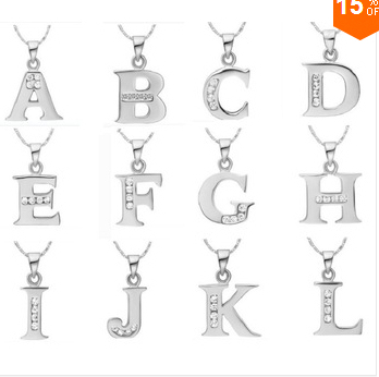 CYPRIS silver necklace English Letter Capital Crystal Stone Pendant Necklace cz stone shine 18inch collares populare joyas