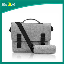 "New 14 "" Felt Laptop Shoulder Bag Notebook Laptop Messenger Bag with shoulder strap"