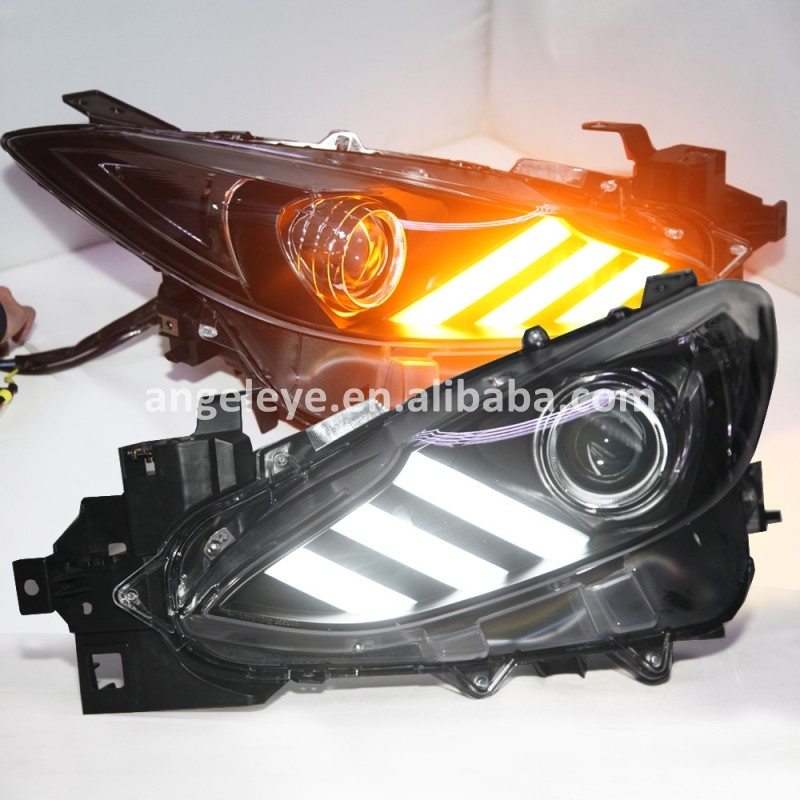 For MAZDA 3 Axela LED Head lamp Front light For Axela 2013 to 2015 year Black housing LD