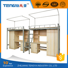 Modern design metal school dormitory bunk bed with desk