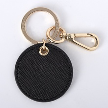 MOQ 20pc real leather round circle key chain shining polished key ring holder order on-line directly