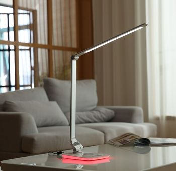 Modern Aluminum alloy Night Light RGB and wireless charging dimmable LED desk lamp for home, hotel lighting