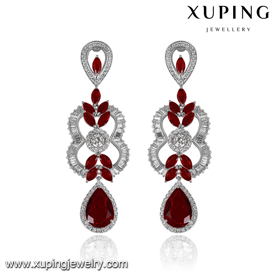 E-400 xuping drop big earring diamond dangler earrings bridal wedding jewelry