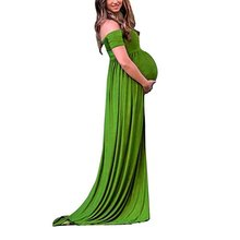 Pregnant Gown Photography Props V-Neck Maxi Dresses For Photo Shoot Split Front