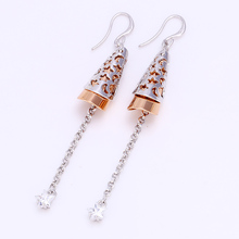 25351 jhumka style two color star shaped long hanging earrings