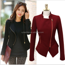 2015 new spring han edition dress stitching zipper collar shoulder pads long-sleeved jacket small coat