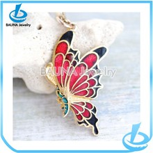 Red Butterfly Pendant on Golden Chain - Necklace