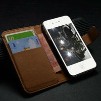 Wallet Stand Case For iPhone 4s 4 Luxury Smooth Leather case for iPhone 4s with card holder+bill site Top Selling one