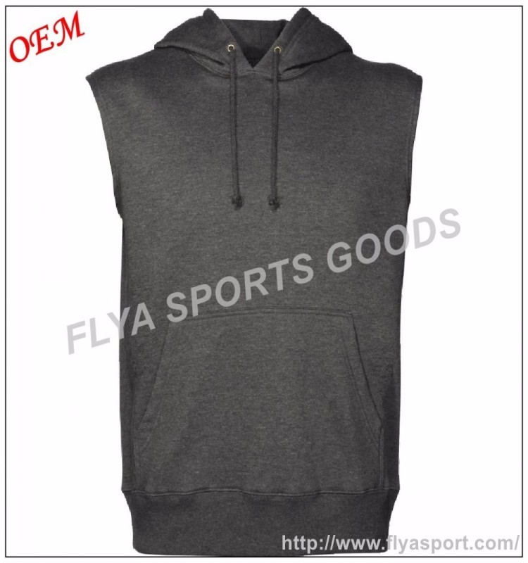 high quality classic fit mens sleeveless gym wear workout hoodie singlet