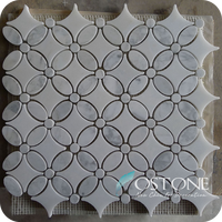 White Marble Stone Mosaic For Bathroom Tile / Kitchen Backsplash