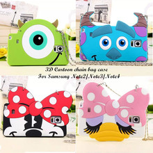 2015 The Newest cartoon animals chain bag soft silicone case For samsung Note2 N7100 Note3 N9000 Note4