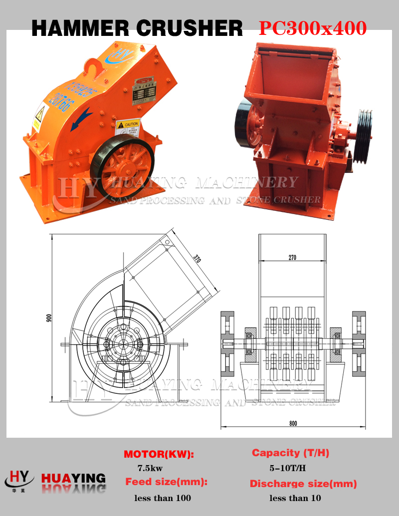 Alibaba hot sale PC400X300 new type hammer glass crusher