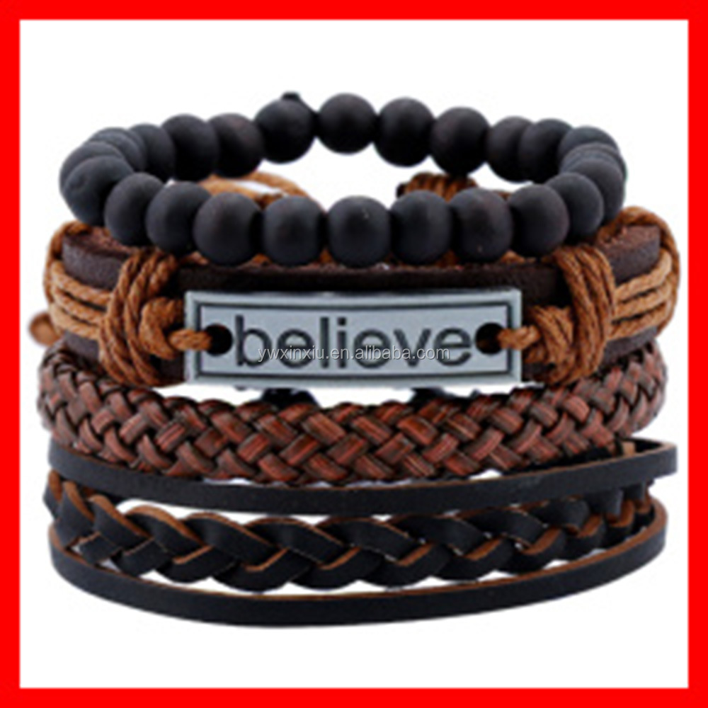 Made In China Fashion Engraved Believe Bracelet DIY Set Leather Bracelet Jewelry for Men