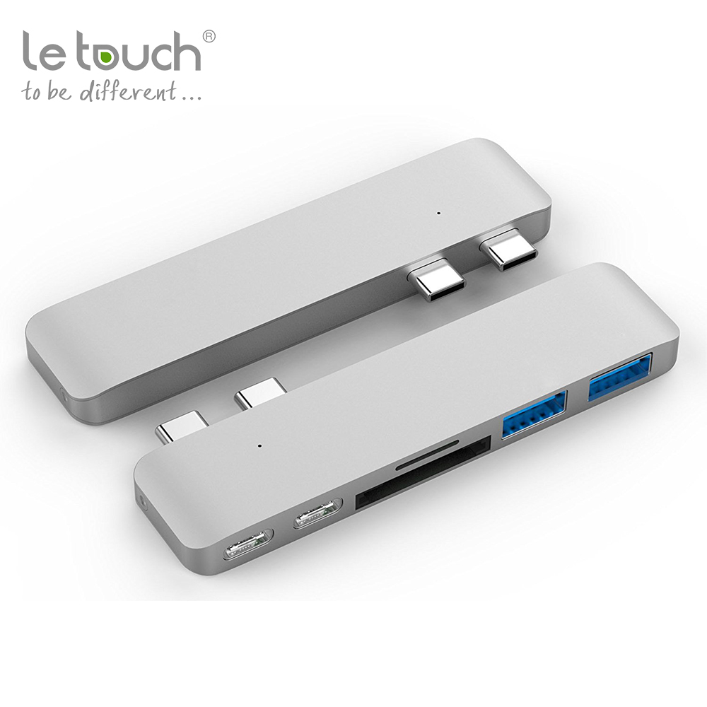 Fashionable aluminum design multifunctional portable combo function 5 in 1 usb3.0 card reader dual usb type c hub for macbook
