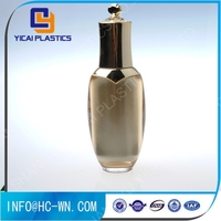 Golden cosmetic plastic skin care packaging bottle