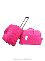 2015 china factory polyester pink color travel trolley luggage bag for girls