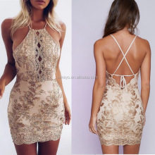 K1224A 2017 Hot Sexy Halter Backless Dress Handmade Club Wear Bodycon Lace Women Dress