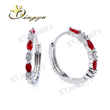 Charm simple design earring Micro Pave Red /Blue Zircon earring For Woman XYE101446