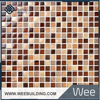 Colorful 15x15mm Broken Glass Mosaic Tile Mix Natural Stone