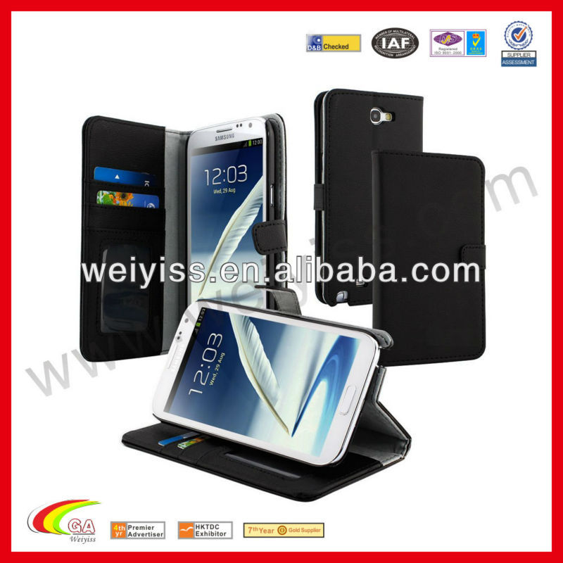 Black Mobile Phone PU Leather Wallet Case Pocket For SAMSUNG Galaxy Note 2 II N7100 With Stand and Credit Card Holder