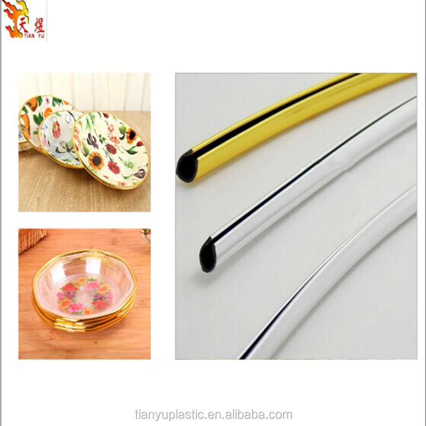 chrome golden u shape decoration trim strip for compote,fruite and food dish bowl fittings