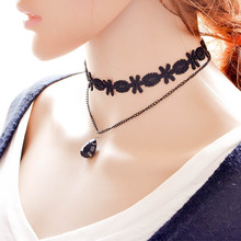 New Gothic Cord Tattoo Velvet Lace Collar Chokers Chain Necklace with Black Crystal Pendant