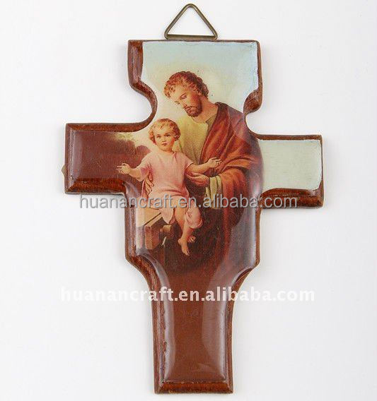 China new designs durable church paper and wood catholic wall rosary cross