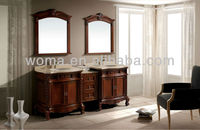 87'' Antique style double ceramic sinks oak solid wood bathroom vanity cabinet with natural marble 3066